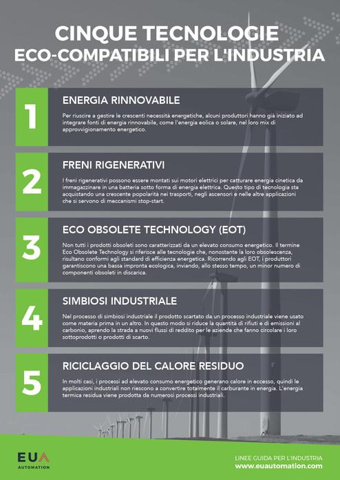 Cinque tecnologie eco-compatibili per l'industria